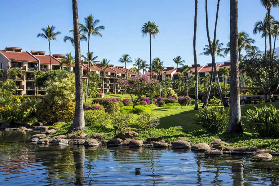 Gardens at Castle Kamaole Sands Hotel in Kihei, areas to stay in Maui Hawaii
