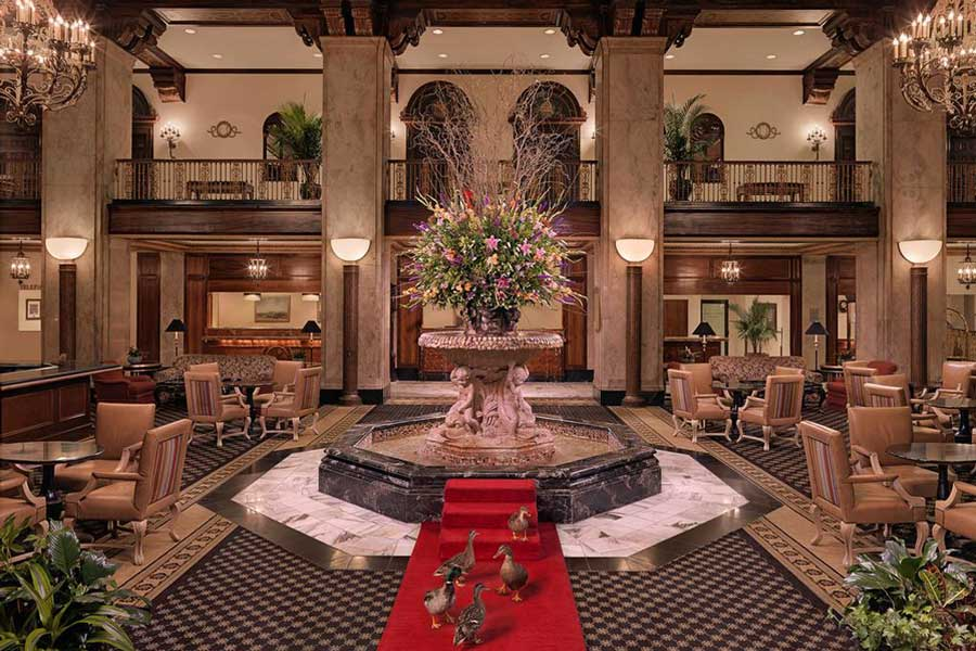 Hotels for romantic getaways Tennessee USA, romantic weekend getaways United States, Memphis, Peabody Hotel