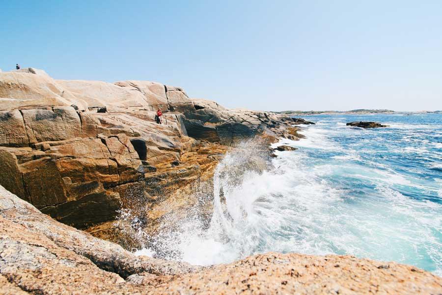 Crashing ocean waves in Nova Scotia, East Coast road trip Canada from Toronto to Nova Scotia