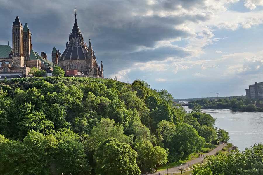 Ottawa skyline, road trip from Toronto to Nova Scotia Canada