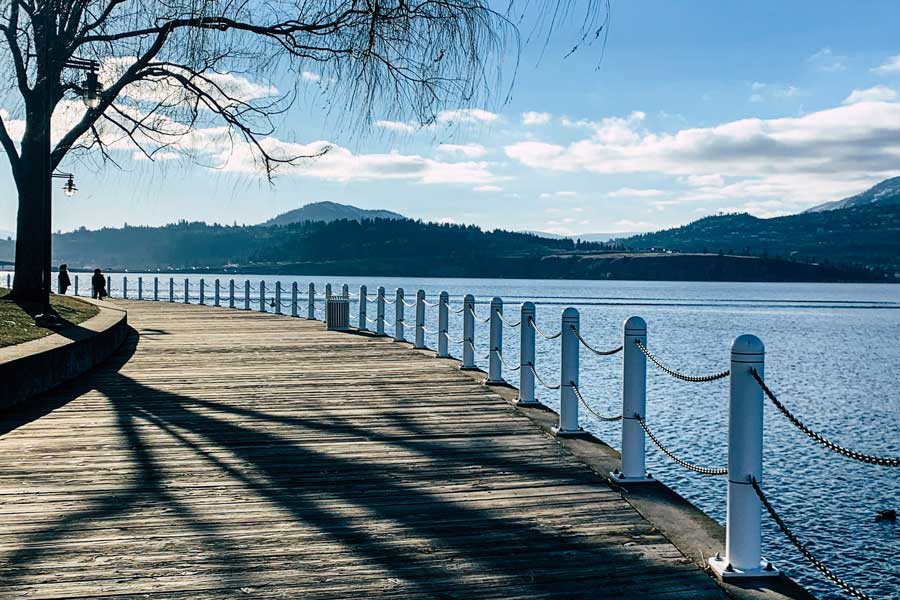 Kelowna lakefront boardwalk, Okanagan Valley, Toronto to Vancouver drive, cross-Canada road trip map and route ideas