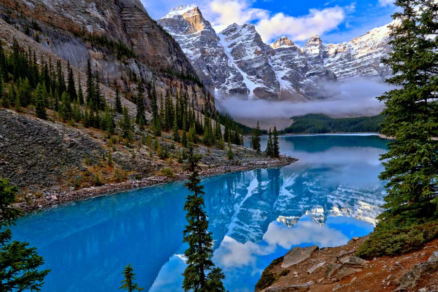 Icefield Parkway mountains and lake, Alberta Canada, Toronto to Vancouver drive, cross-Canada road trip map and route ideas