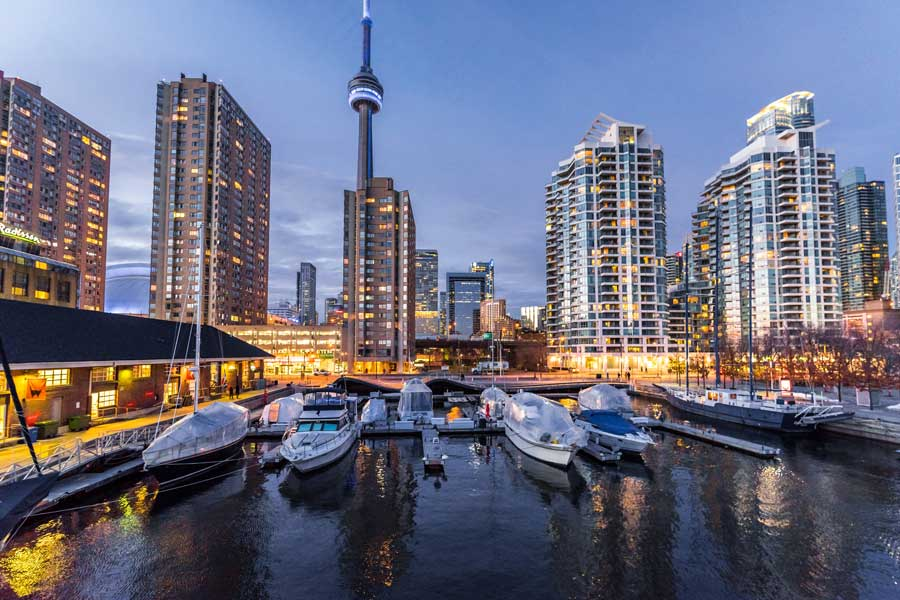 Toronto skyline, Toronto to Vancouver drive, cross-Canada road trip map and route ideas