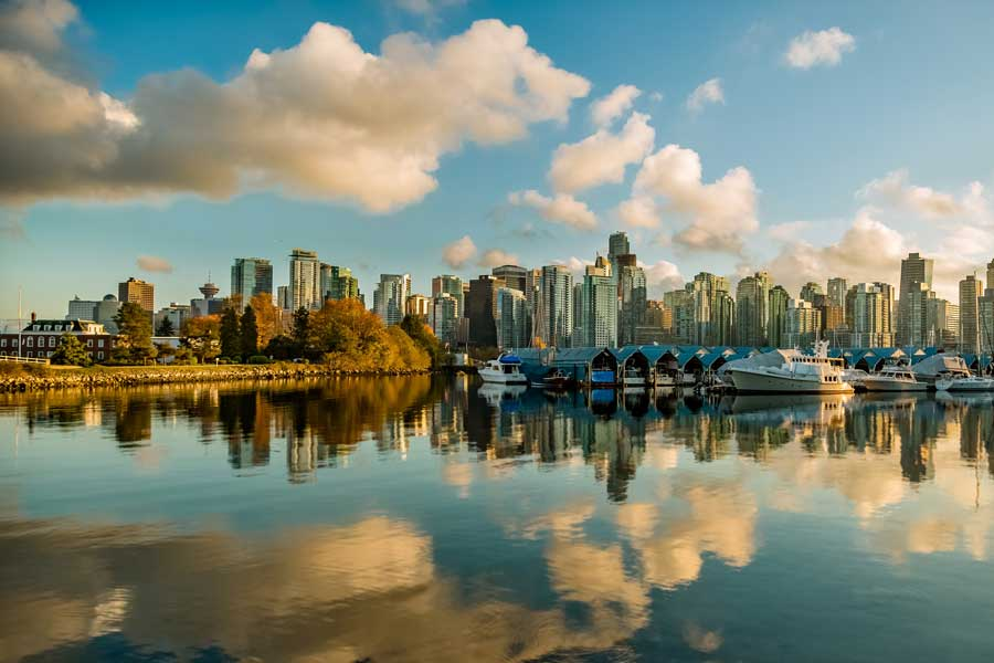 Vancouver Stanley Park, city skyline, Toronto to Vancouver drive, cross-Canada road trip map and route ideas