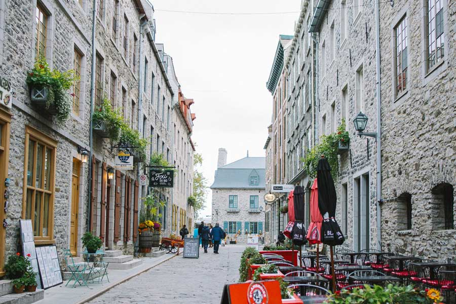 Old Quebec City street, best trips with mom Canada, places to go for mother daughter trips, road trips