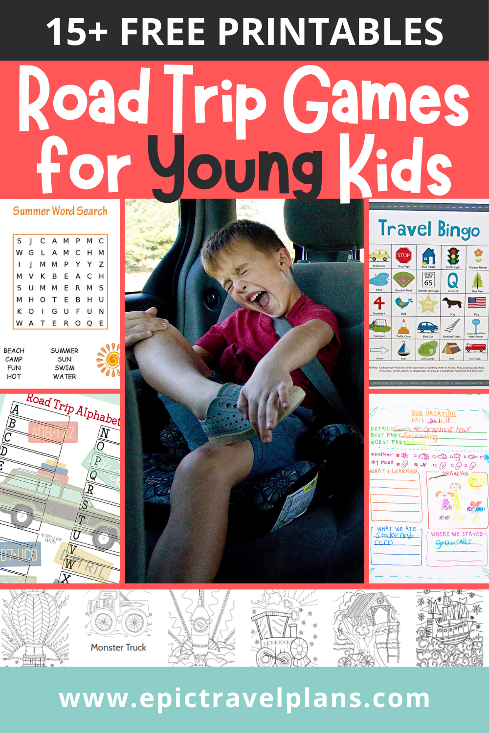 Best family road trip games for young kids, free printables