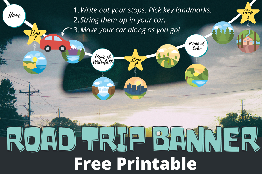 Preview of family road trip map banner printable