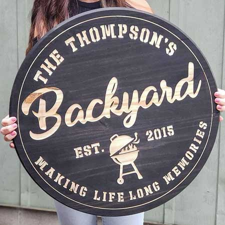 Backyard bar and grill sign, outdoor decor items for travel lovers