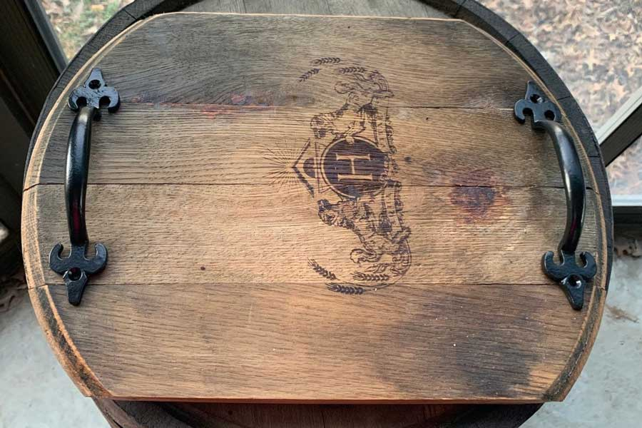 Bourbon barrel serving tray, outdoor decor items for travel lovers