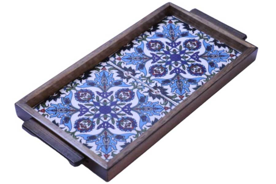 Mosaic tile serving tray, outdoor decor items for travel lovers