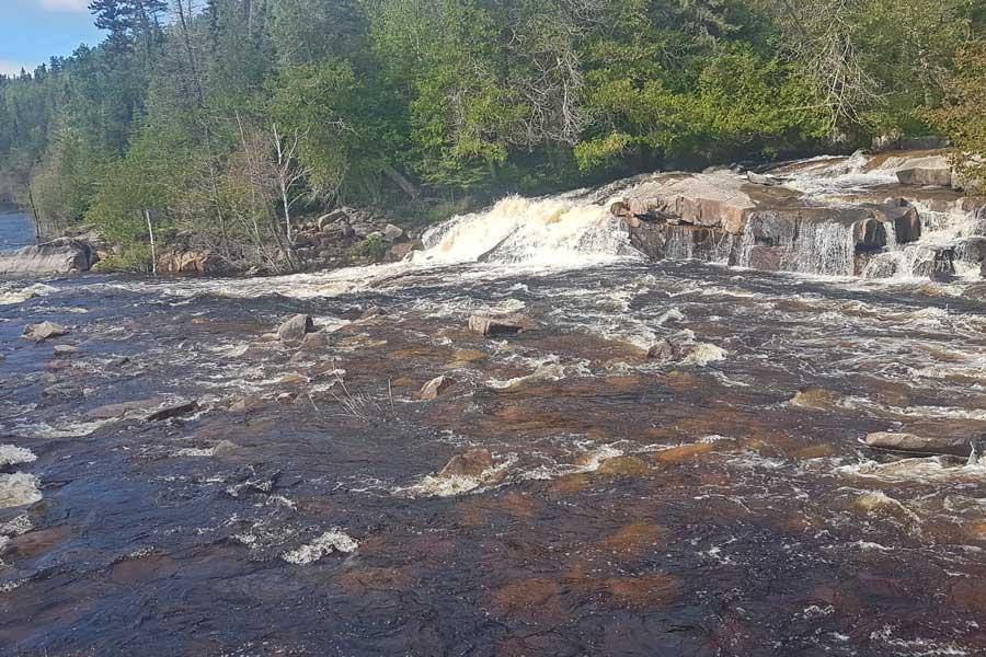 First little cascade at Silver Falls hike near Thunder Bay Ontario