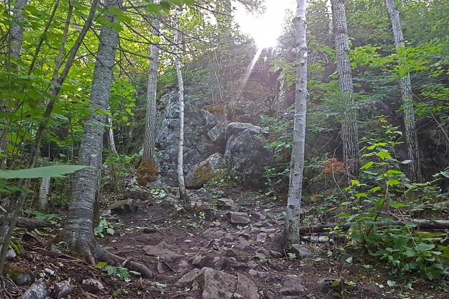 Big descent at Silver Falls hike near Thunder Bay Ontario