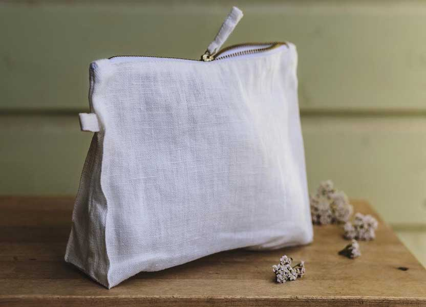 Linen pouch, small travel accessory bag, The Best Linen Etsy shop
