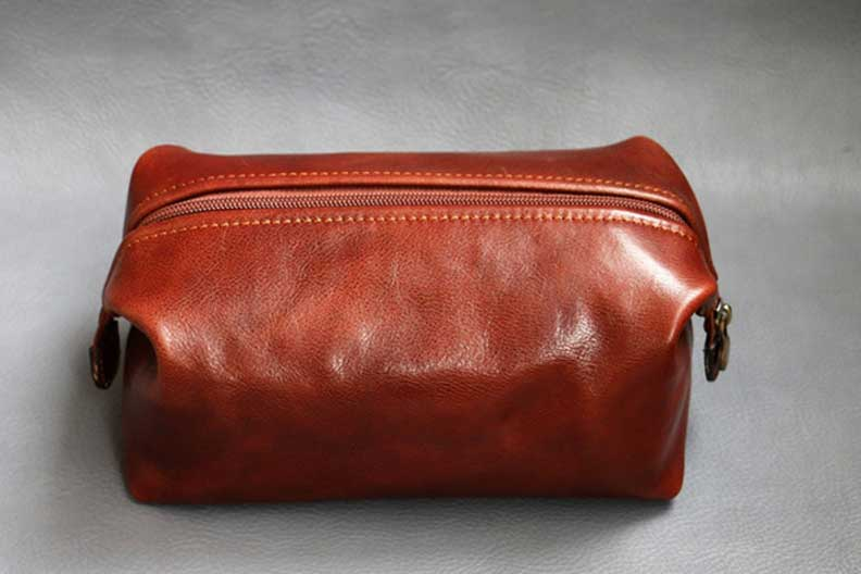 Leather dopp kit, small travel kit bag, makeup bag, The Florence Leather Etsy shop