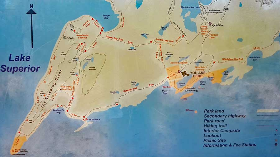 Sleeping Giant Provincial Park Trails Map, hiking trails near Thunder Bay on Lake Superior