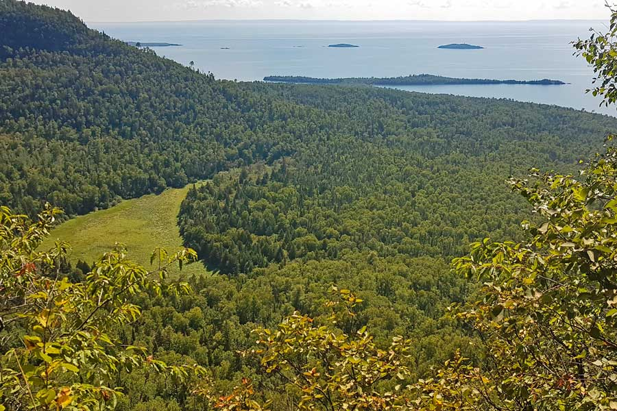 Top of the Giant Tee Harbour Lookout, Sleeping Giant hiking trails near Thunder Bay Ontario