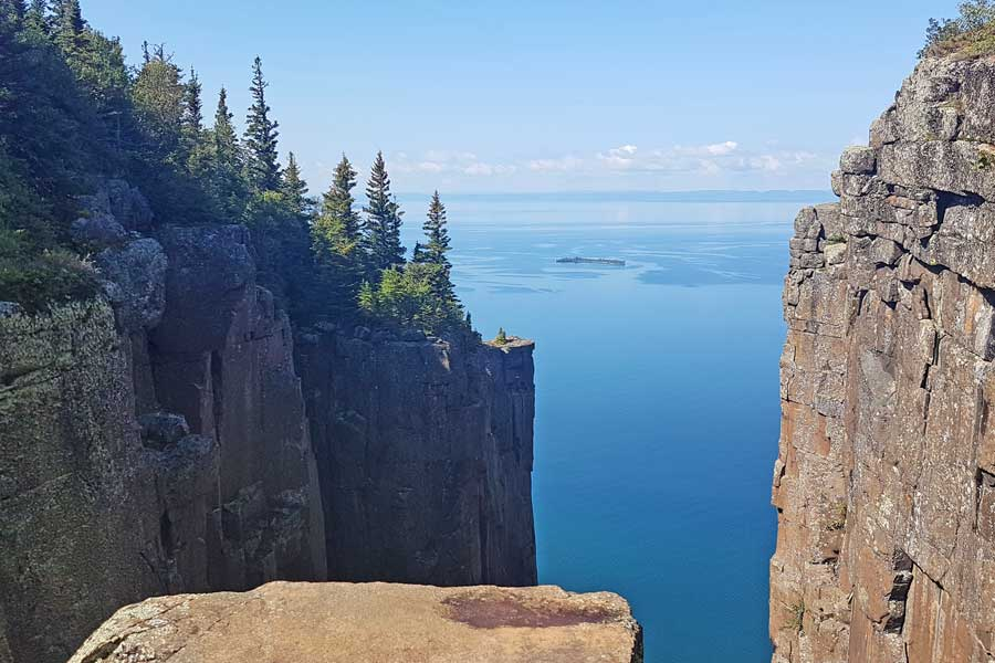 Top of the Giant Gorge Lookout, Sleeping Giant hiking trails near Thunder Bay Ontario