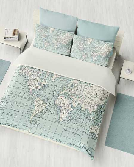 Travel themed bedding, travel decor for bedroom