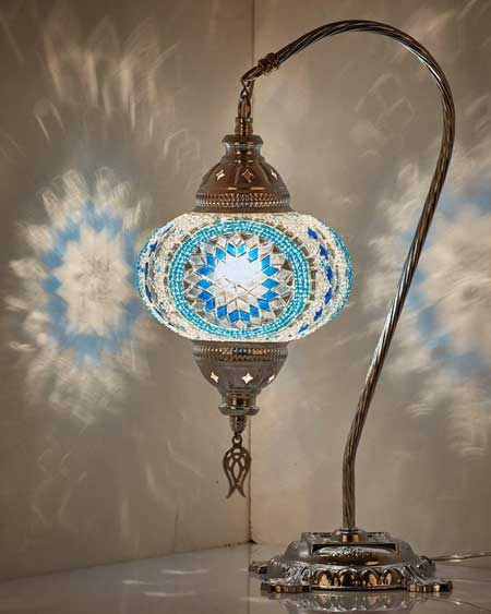 Turkish mosaic table lamp, bedroom decor lamps, travel decor for bedroom