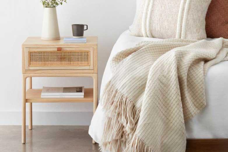 Mindi wood night stand, bedroom decor furniture, travel decor for bedroom