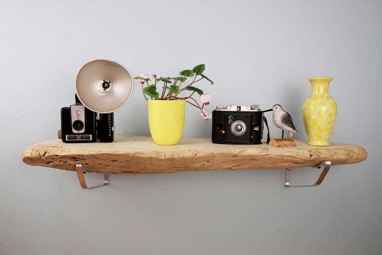 Rustic wood shelves, bedroom decor wall ideas, travel decor