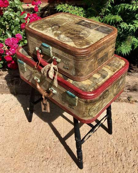 Suitcase table, bedroom decor furniture vintage, travel decor for bedroom