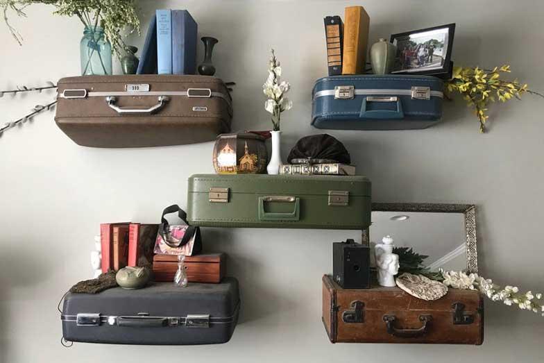 Suitcase shelves, bedroom travel decor, bedroom decor wall ideas
