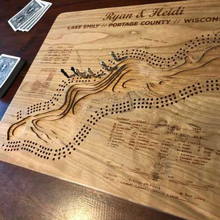 3D wood cribbage board, games for lake cabin gifts, cool things for cabins