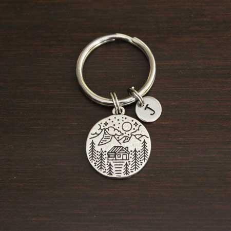 Wood keychain cabin gift basket ideas, cabin warming gifts