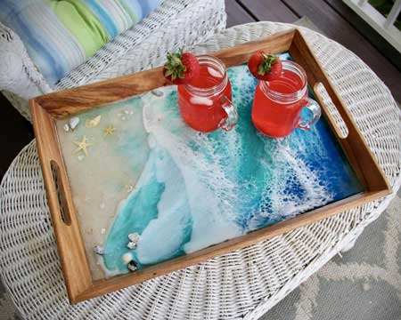 Beach resin tray lake cabin gifts, cabin warming gifts, cool things for cabins