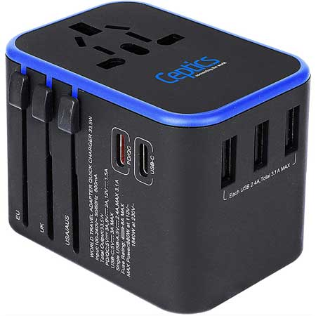 Universal power adapter for travel, techy travel accessories for women