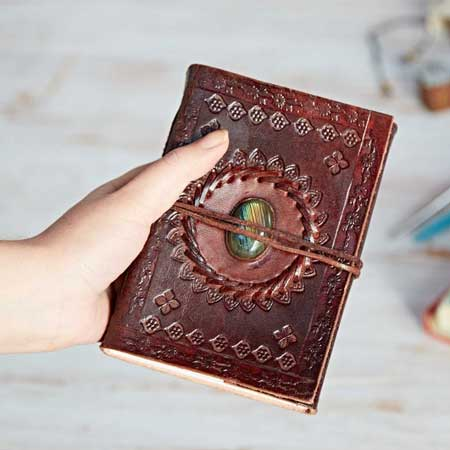 Leather travel journal, unique travel accessories for women