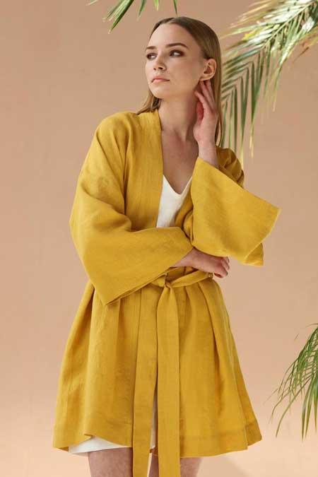 Linen robe, luxury travel accessories for women