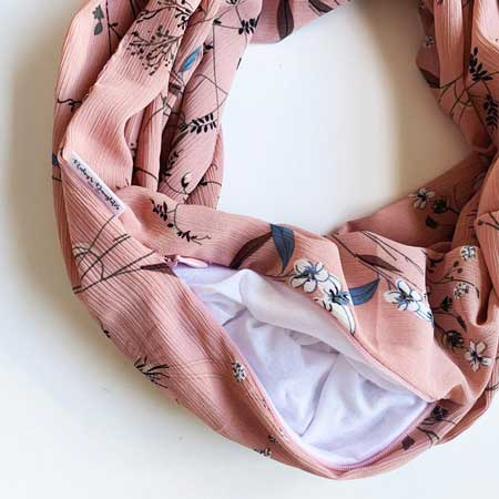 Scarf with hidden pocket, security pocket clothing, cute travel accessories for women