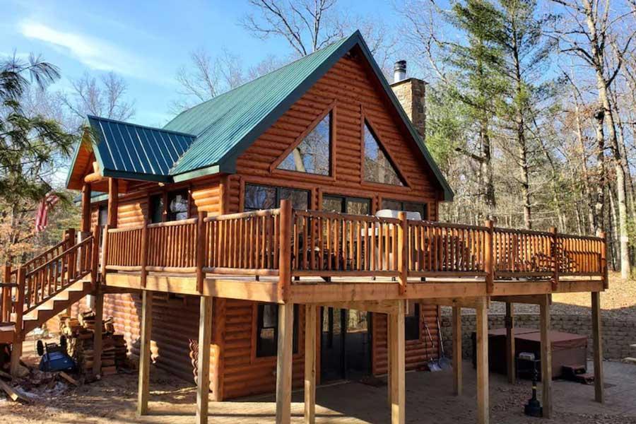 Riverfront log cabin, Michigan romantic getaway cabins with hot tub